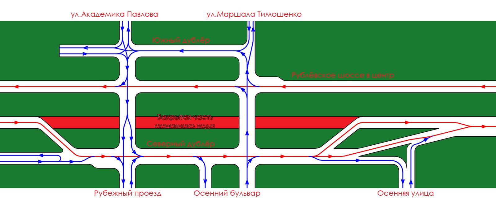 ...данные изменения связаны с началом строительства первой половины эстакады в рамках проекта «Южная рокада».